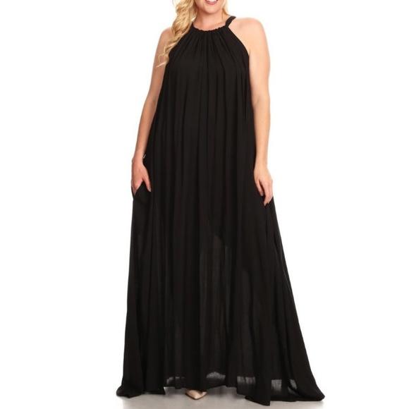 Plus Size Black Boho Halter Maxi Dress